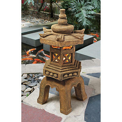 Tranquil Energy Asian LED Japanese Sculpture Zen Garden Lamp Light Statue
