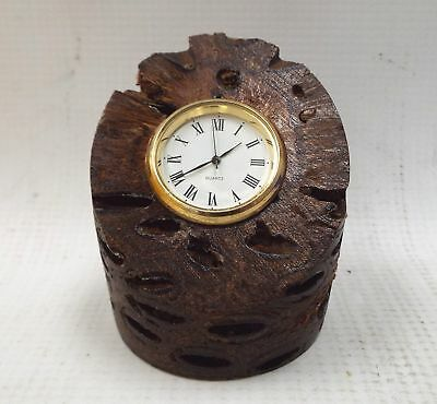 Handcrafted Small TIMBER Decorative Clock QUARTZ Dial - W74
