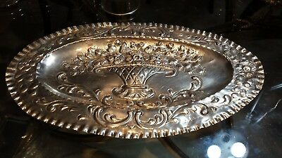 92g XIXc TRAY HEAVY CARVING FLOWER BOUQUET SOLID SILVER