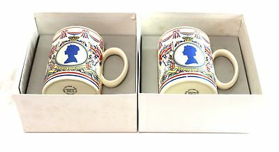 Pair Of Vintage WEDGWOOD Commemorative CUPS / Mugs Boxed - C61