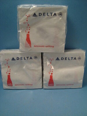"3 Packages Delta Airlines Coca-Cola Soda Napkins ""Deliciously Uplifting"""