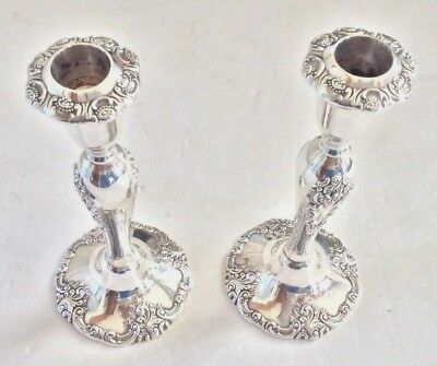"""Vintage Silver Barque By Wallace 750 Highly Ornate Candle Holders 8 1/2"""" Tall"""