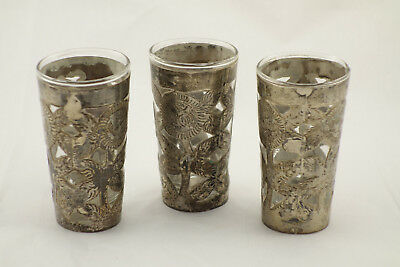 Lot of 3 Vintage Mexico Sterling 925 Silver Overlay Glass Shot Glasses