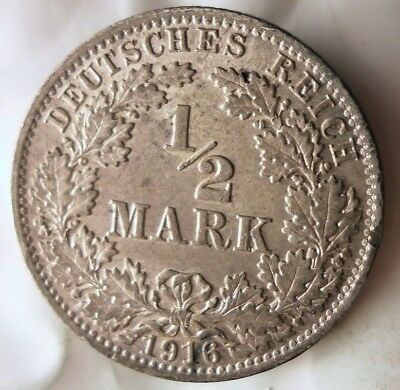 1916 GERMAN EMPIRE 1/2  MARK - EXCELLENT Vintage Silver Coin - Lot #F18
