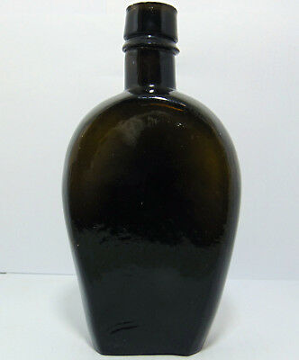 "Crude & Unusual Black Glass ""Coffin"" Shaped Victorian Spirit Flask c1870-80"