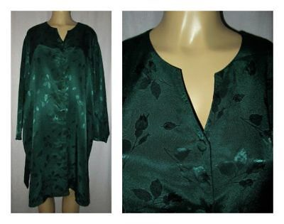 "Vtg Nightgown Night Shirt LANE BRYANT Intimates 18/20 XXL 58"" Satin Forest Green"