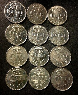 Old MACAU Coin Lot - Patacas - 12 High Grade Coins - UNCOMMON - Lot #F18