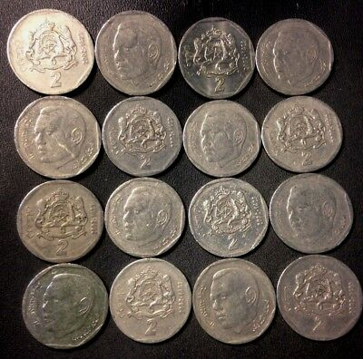 Old Morocco Coin Lot - 2 DIRHAM - 16 Uncommon Type Coins - Lot #F18