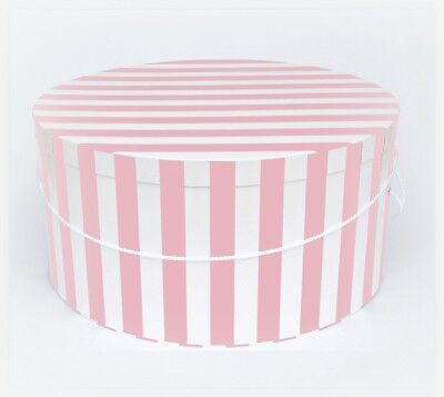 """SUPERSIZE Striped HATBOXES ~20""""~ 22""""~ 24"""" x 8""""-9"""" Deep ~ Millinery ~ Stack of 3"""