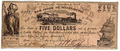 MS-8A CR-13A $5.00 Mississippi Paper Money 1862