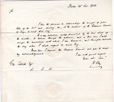 1833, Henry Clay, letter written as Senator, to George Tibbetts, New York, meet