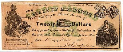 MS-6 CR-16 $20.00 Mississippi Paper Money 1862