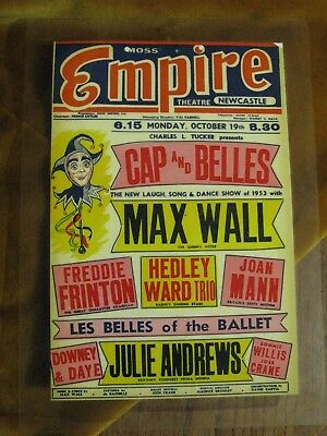Empire Theatre(Newcastle) - Max Wall & support(Julie Andrews) laminated original