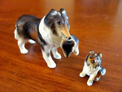 Vintage Porcelain Momma Collie Dog With Baby & Sibling Figurines Euc