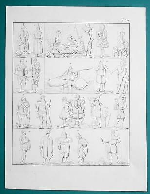 AMERICA NATIVES Mexico Virginia Indians Samoyede Eskimos - 1828 Antique Print