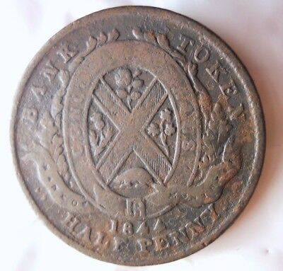1844 CANADA (MONTREAL) 1/2 PENNY - High Quality Vintage Coin - + Value- Lot #F18