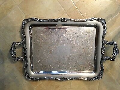 "Ornate Handled Footed Large Silverplated Butlers Tray by WmRogers  23"" X 14.5"""