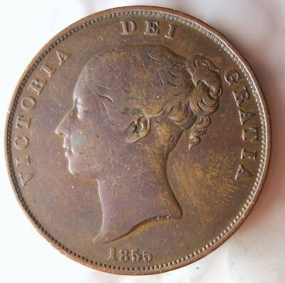 1855 GREAT BRITAIN PENNY - AU w/ RED - Rare Date - Excellent Coin - LOT #F18
