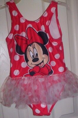 GIRLS~DISNEY~MINNIE MOUSE~RED  POLKA DOT 1-pc. TUTU SWIMSUIT/ MINNIE ON FRONT 4T