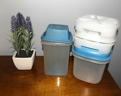 Vintage Tupperware Ice Container and 3 Ice Trays & Pick a Deli Blue Summer Retro