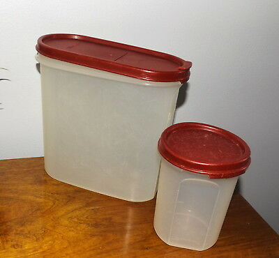 Vintage Tupperware  Pour n Seal Stackable Modular Mate & Small canister Red