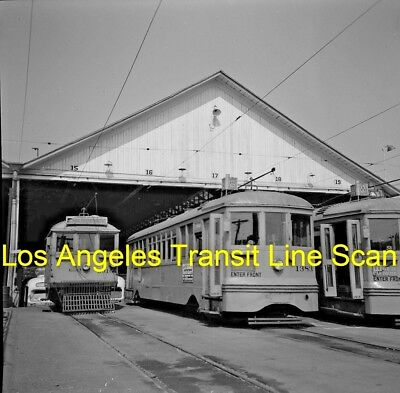 Los Angeles Transit Lines Original B&w Trolley Negative Of Car 1383 In 1952