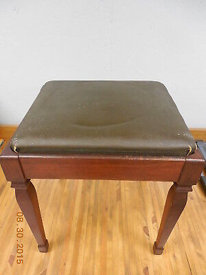 Vintage Leather Top Sewing Piano Bench  <