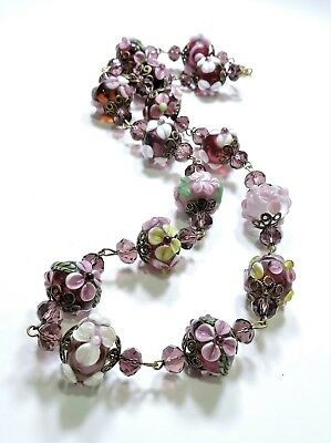 Vintage Purple Pink Flowers Art Glass Lampwork Art Glass Bead Necklace FE18196