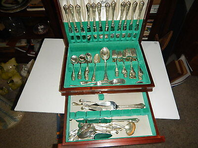 Wallace Sterling Silver flatware Grand Colonial 91 pieces 101 toz with monogram