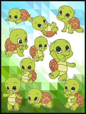 Cute Baby Turtle 10 Machine Embroidery Designs Cd 2 Sizes