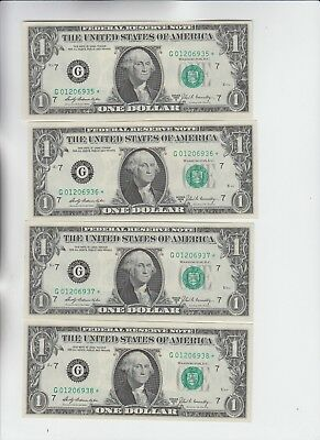Federal Reserve Note $1 1969-B STAR 4 consecutive choice to gem unc
