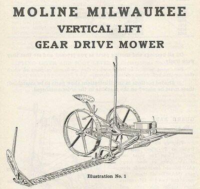 Instructions & Parts Manual Moline Milwaukee Gear Drive Mower Vertical Lift 1926
