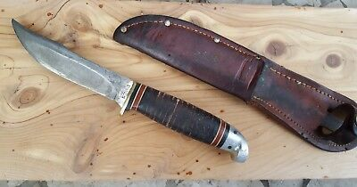 Vintage WESTERN BOULDER COLO. Official Boy Scout USA Hunting Knife w/ Sheath