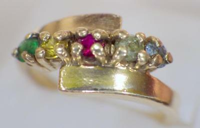 10K Solid Yellow GOLD Mothers Ring Ruby Emerald Topaz 3.737 Grams Size 7 - 1/2