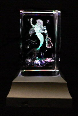 Mermaid and Guitar Laser Inscribed Crystal LED Night Light Gift OTH16