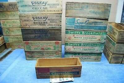 Antique / Vintage Wooden 3 lb Cheese Boxes ~ Esskay, Swift's Brookfield, Kraft