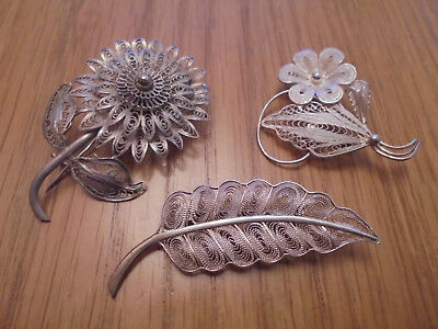 3 antique silver brooches