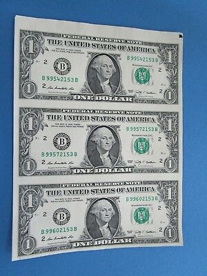 2009 USA Uncut Sheet of 3 $1 Notes. UNC