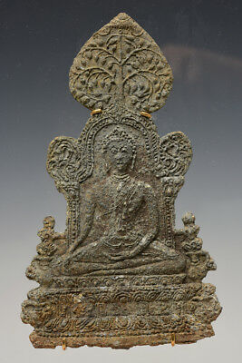 15th Century, Antique Laos Metal Buddha Plaque Sitting on The Throne