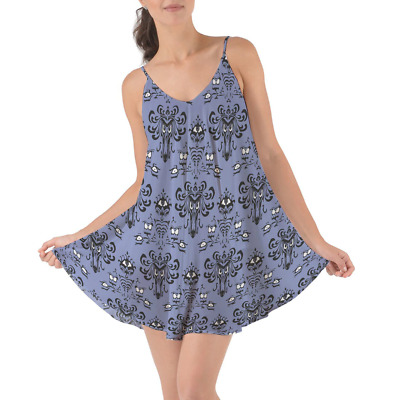 Haunted Mansion Wallpaper Beach Cover Up Dress