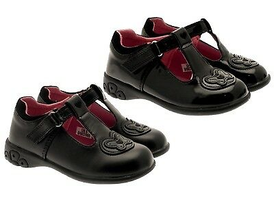 Chatterbox Girls Flashing Light Up School Shoes Black T Bar Faux Leather Size