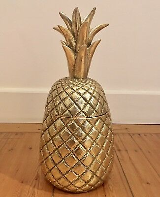 Grand pot ananas couleur or vieilli   design vintage  H  42 cm