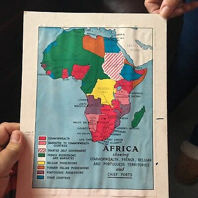 Old map of Africa showing Territories of Commonwealth,France etc.& Chief Ports