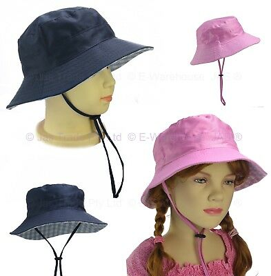 Kid Child Boy Girl Toddler Preschool Bucket Sun Hat Cap Cotton Draw Chin Strap