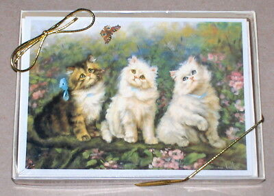 "Marian Heath / Adrienne Lester ""Puzzling Encounter"" Cats & Butterfly Note Cards"