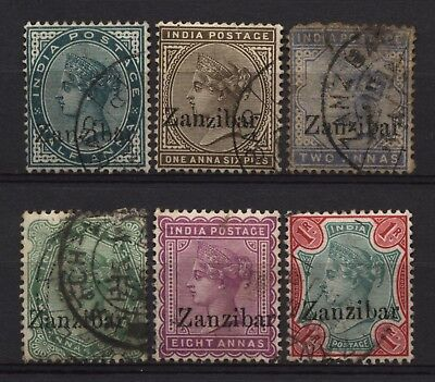 Zanzibar Collection 6 QV Ovprt Stamps Used