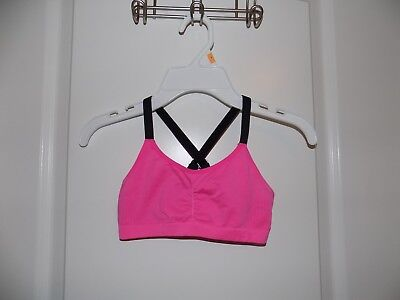 Youth Under Armour Hot Pink Seamless Sports Bra Sz S/M Cheer Dance VGC Blk Strap