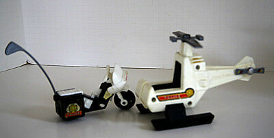 VTG 1980 Fisher Price Police Motorcycle & Helocopter With Working Blade