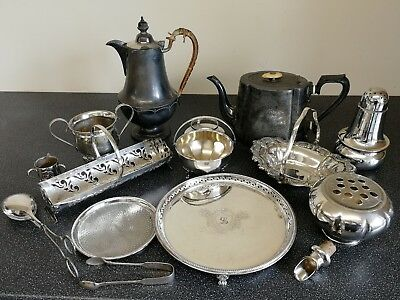 Job Lot Of Antique Silver Plate & Pewter items - coffee pot, handled dishes etc