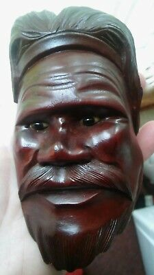 Vintage Carved Wooden Head Of A Man With Glass Eyes Chinese Wall Plague